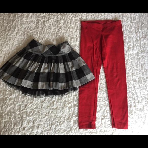602f3cb05610f GAP Bottoms | Girls 2pc Red Leggings Buffalo Plaid Skirt Set | Poshmark